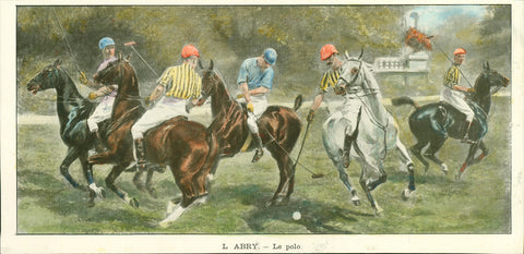 """Le polo""  Wood engraving after L. Abry printed in color with hand colored highlights. Published ca 1900."