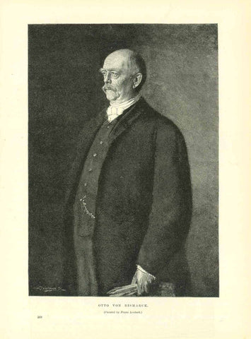 """Otto von Bismarck""  Wood engraving made after a painting by Franz Lenbach. On the reverse side is text about Lenbach and his paintings."