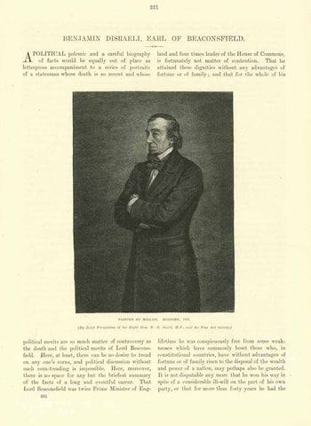 """Benjamin Disraeli, Earl of Beaconsfield""  ""The Last Appearance in the Commons""  -----  3-page article with images and text about Benjamin Disraeli.  Published 1895."