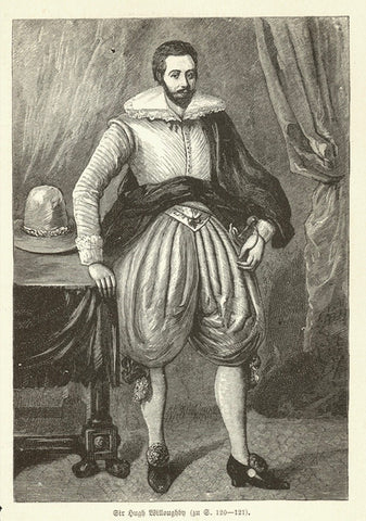 """Sir Hugh Wiloughby""  Wood engraving of the English sea explorer who died in 1554. Published 1885. Reverse side is printed."