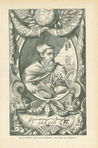 """Amerigo Vespucco, piloto mayor (Reichspilot)""  Wood engraving made after an earlier copper engraving of the famous sailor who gave the American hemisphere its name. Published 1881. On the reverse side is German text about Vespucci's exploration."