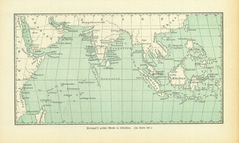 """Portugal's groesste Macht in Ostindien""  Wood engraving map published 1881 showing Portugal's colonization in East India. On the reverse side is text about early Portuguese exploration in Asia."