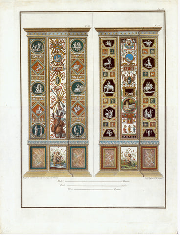 "The copper etchings were printed in Rome in the year 1802. They have brilliant gouache-hand-coloring, attentively executed even in the smallest detail. The full page size measures ca. 54.5 x 41.5 cm ( 21.5 x 13.4""). An exquisite wall decoration for the discriminating homeowner!"