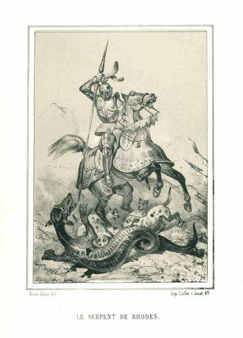 """Le Serpent de Rhodes"" - the dragons of Rhodes  There were giant serpents on the island, which were killed by the hero, called Phorbas.  Toned lithograph after Victor Adan, publihed 1884."