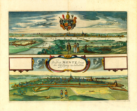 """Die Statt Mentz sampt ihre befestigung zu lantwerdts""  Copper etching by Wenzel Hollar (1607-1677)  Fine original hand coloring  Published in ""Germaniae Superioris""  By Johannes Janssonius (1588-1664)  Amsterdam, 1657  Two views of the city of Mainz in Germany from opposite directions. Upper view from Kastel with the river Main flowing into the river Rhein. With the coat of arms of Arch Bishop Casimir von Warmhold center above city. The lower view with Mainz in the foreground and the river Rhein in back"