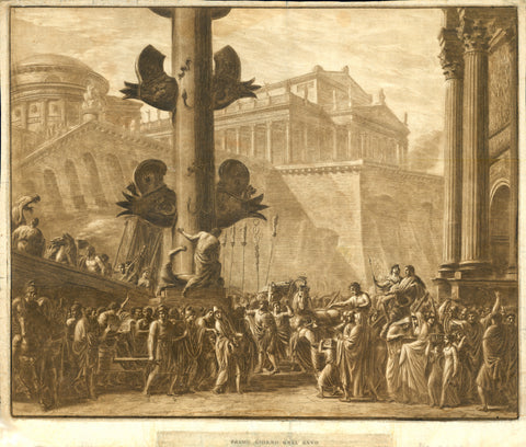 "Rome. - ""Primo Giorno del Anno""  Mezzotinta and copper etching in warm sepia color.  There is no credit for artist, nor name of publisher. We have checked the internet up and down, also the publicized inventory of the British Library, usually a sure source of knowledge. But we could not find a single hint for this beautiful print. So we have to stay vague - unless a reader of this can help. Any hint is very welcome."