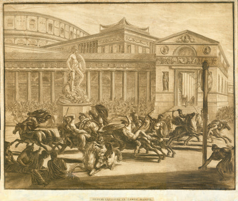 "Rome. - ""Giuochi Equestri in Campo Marzio""  Mezzotinta and copper etching in warm sepia color.  There is no credit for artist, nor name of publisher. We have checked the internet up and down, also the publicized inventory of the British Library, usually a sure source of knowledge. But we could not find a single hint for this beautiful print. So we have to stay vague - unless a reader of this can help. Any hint is very welcome."