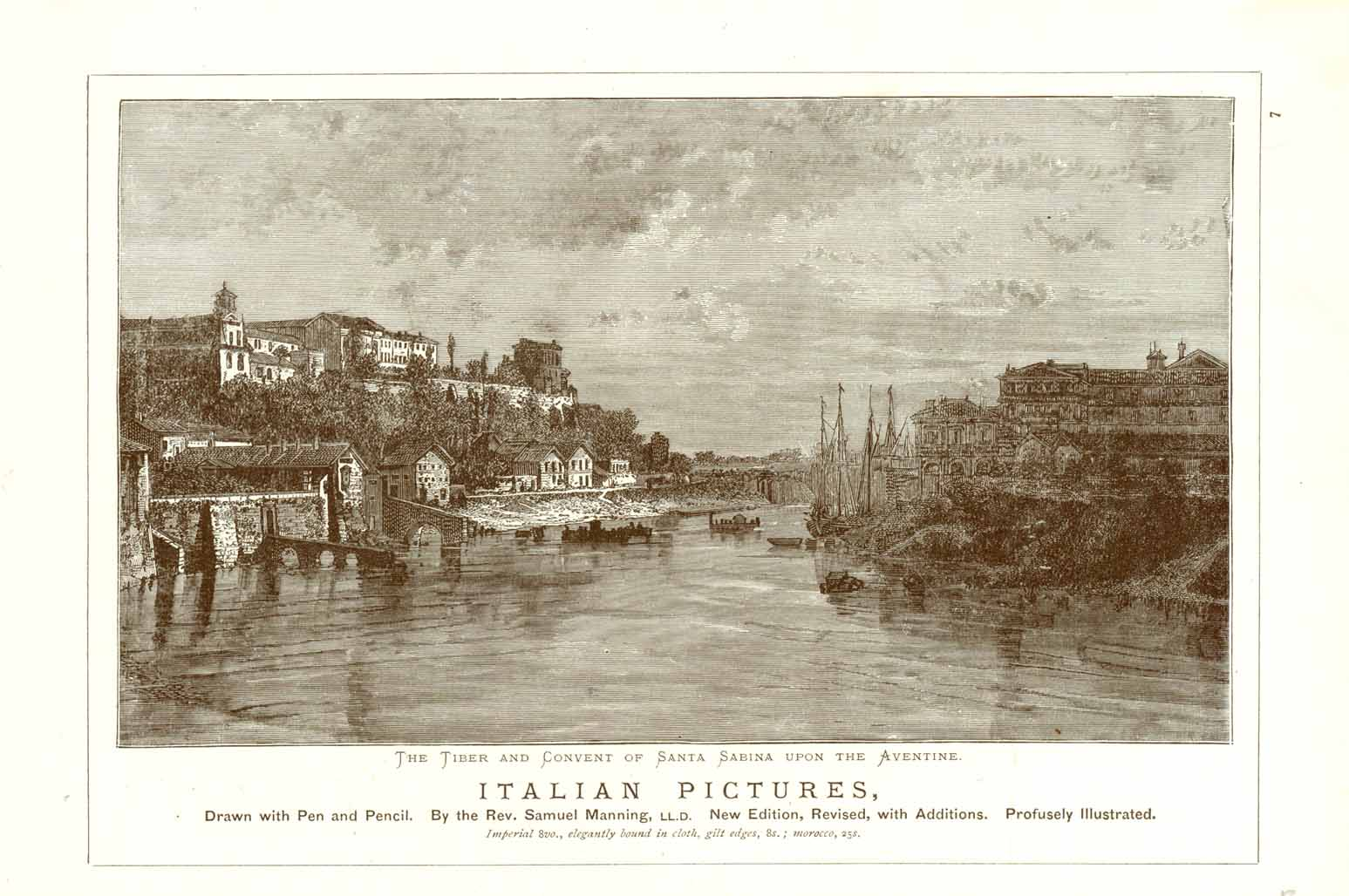 """The Tiber and Convent of Santa Sabina Upon the Aventine""  Wood engraving after a pen and pencil drawing ca 1885. On the reverse side is an image of Bacharach."