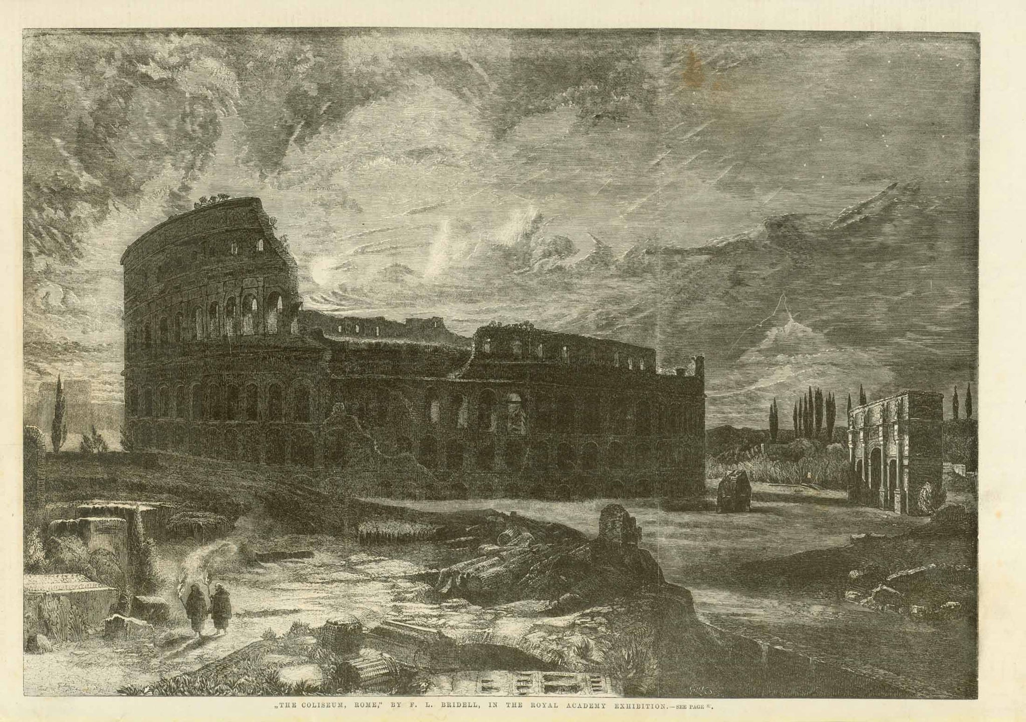 """The Colosseum, Rome""  Wood engraving after the painting by F. L. Bridell. Published 1860.  Light spot in upper right sky area."
