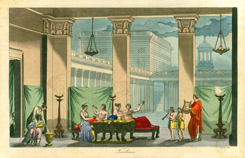 """Triclinio""  Copperplate etching by Giuseppe Guzzi  Very attractive original hand coloring  Published ca. 1820  Triclinium was the name of the antique Roman dining room. It was also the name of a sofa in the dining room, where Romans used to take their meals in a reclined physical position (nicely depicted here)."