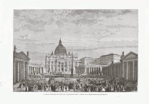 """Le grand benediction de Paques sur la Place St. Pierre""  Wood engraving made after a photograph. Published 1867.  On the reverse side is text (in French) about Rome and especially St. Peter's Square."