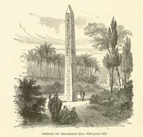"""Obelisk of Heliopolis (Over 4000 years old)""  Wood engraving on a page of text about the obelisk being brought from Heliopolis to Rome and erected in the Circus Maximus. The article ( in English) includes a translation of the hieroglyphs. Text continues on reverse side. Published ca 1875.  Original antique print"