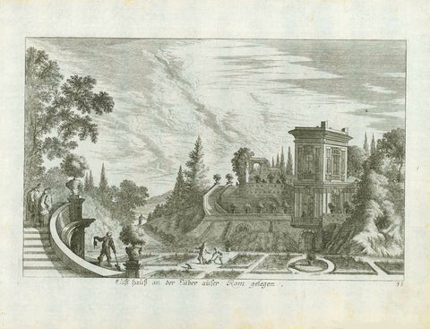 """Lusthaus n der Tiber ausser Rom gelegen"" (House of pleasure on the Tiber outside of Rome)  Copper engraving by Melchior Kuesell (1626.1683) after Johann Wilhelm Baur(1607-1640). Published in Augsburg 1703 by Johann Ulrich Krauss. From ""Iconographia""., interior design, wall decoration, ideas, idea, gift ideas, present, vintage, charming, special, decoration, home interior, living room design"
