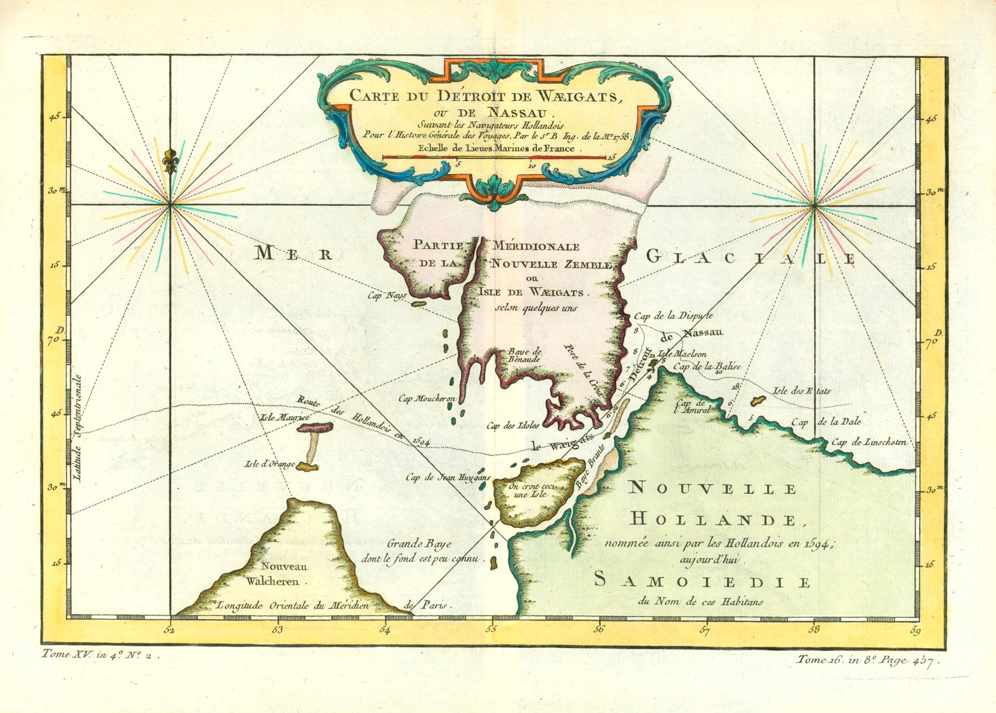 """Carte du Detroit de Waeigats, ou de Nassua "". Copper etching by M. Bellin in recent coloring. Dated 1758.  A decorative map of a remote and almost unknown area. On each side of the island of Novaya Zemlya is a windrose in the Arctic Sea. In the southwest is Cape Russkly Zavarot and the area shown as Nouvelle Hollande is the Yugorskiy Penninsula."