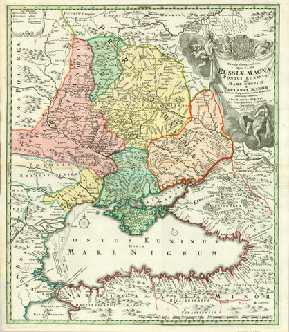 """Tabula Geographica qua Pars Russiae Magnae Pontus Euxinus seu Mare Nigrum et Tartaria Minor cum finitimis Bulgariae, Romaniae, et Natoliae Provinciis exhibetur""  Map of the Ukraine in the extensions of mid 18th century, and neighboring geographical regions of countries. Map of the Black Sea and neighboring shores. Nowadays the Ukraine has much larger extensions, especially westward.  Copper etching with very fine original hand colouring."