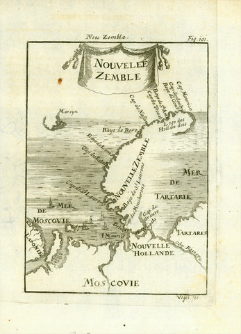 """Nouvelle Zemble""  Nova Zembla is a double island between the Barent Sea and the Kara Sea.  There are few inhabitants on the two main islands. The northern island is the fourth largest in Europe and almost 900 hundred kilometers long.  Copper engraving by Allain Mallet, 1719. Minor signs of age and use."