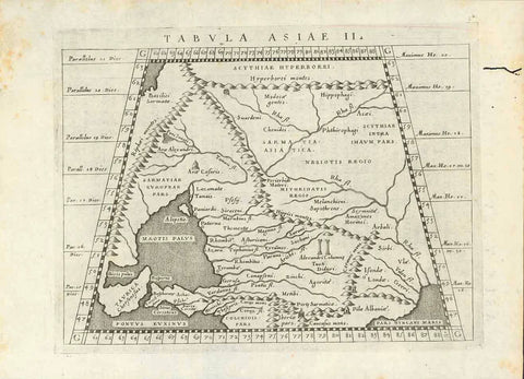 """Tabula Asiae II.""  Copper etching by Girolamo Porro (1520-1604)  After Claudius Ptolemy  Published in ""Geographia Universa""  Publisher Giovanni Antonio Magini (1555-1617)  Venice, 1596  Area shown: Sea of Azov, A bit of northern coast of Black Sea, the northern most part of the Caspian Sea. Part of the Ukraine, Southern part of Russia, as seen by Ptolemy."