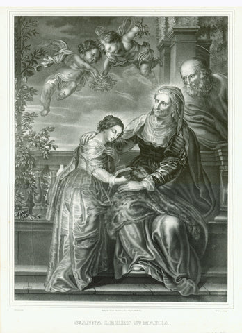 """Sta. Anna lehrt Sta. Maria""  Lithograph by W. Glaessner after the painting by Peter Paul Rubens  Published in Frankfurt on the Main, ca. 1840  Mother of St. Mary teaching her daughter Maria. Behind Anna her husband and father of St. Mary, Joachim. Above Maria's head two putti with a floral wreath crown."
