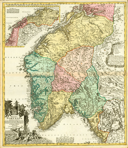 """Regnis Norvegiae accurata tabula in qua Praefecturae quinque Generales Aggehusensis, Bergensis, Nidrosiensis, Wardhusiensis et Bahusiensis ofternduntur a Joh. Bapt. Homanno, Noribergae""  Map shows southern Norway. Upper left inset: Coastline and hinterland from Drontheim to Nordcap.  Copper etching with excellent original hand coloring.  Published by Johann Baptist Homann (1664-1724)  Nuremberg, 1723"