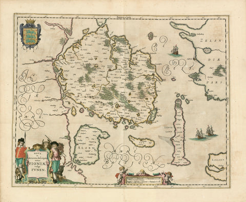 "Denmark. - ""Nova et accurata descriptio totius Fioniae vulgo Funen""  Copper etching by Gerard Mercator (1512-1594).  This map published by Jan Janssonius (1588-1664)  Shows with great detail the Danish Islands of Funen (Fyn), Aero, Alsen and Langeland. And the bordering areas of Laland, Zeeland and Jutland.  Original hand-coloring. Gouache colors used for title cartouche and coat of arms."