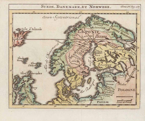 """Suede, Danemark, et Norwege""  Copper engraving map by Henri Chatelain (1684-1743), Published ca 1720. in Amsterdam.  Hand coloring. In the upper left is part of Iceland. In the lower left part of Great Britain.  Original antique print , interior design, wall decoration, ideas, idea, gift ideas, present, vintage, charming, special, decoration, home interior, living room design"