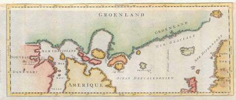 """Groenland"" Copper engraving ca 1780.  The southern coast of Greenland is shown in the upper part of the map. In the lower right is part of Norway and the northern tips of Scotland and Ireland. In the lower left is New Denmark and a tip of America.  In the upper right is Spitzberg als island and Iceland (green) oppisite Norway.  Original antique print  , interior design, wall decoration, ideas, idea, gift ideas, present, vintage, charming, special, decoration, home interior, living room design"