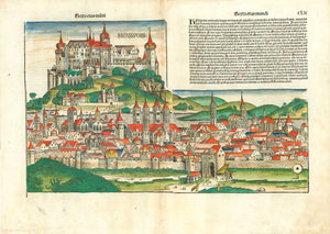 "SCHEDEL - WÜRZBURG - BAVARIA - FRANCONIA  Würzburg. - ""Herbipolis""  Sexta etas mundi Pag. CLX (160)  General view of the important city in Bavaria, province of Franconia  Type of print: Woodcut  Color: Excellent hand coloring  Published in: Nuremberg Chronicle (""Weltchronik"" (Liber Chronicarum)  Author:  Hartmann Schedel."