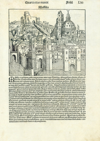 "Marseille. - ""Massilia""  Earliest print of the city of Marseille  Woodcut. Incunabila  Published in ""Nuremberg Chronicle"" (Schedelsche Weltchronik or Liber chronicarum)  By Hartmann Schedel (1446-1514)  Published in the Latin (first) edition of this important incunabula work  Nuremberg, 1493  The images on the reverse side are: Pherecides of Syros, Pythagoras, Sappho the Greek poetess, Ezechiel the Prophet, and Daniel the Prophet. Short text about each person."