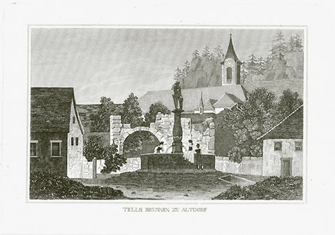 """Tells Brunnen zu Altdorf""  Steel engraving ca 1850. Fine imprint. Very minor signs of age and use in margins.  Original antique print , interior design, wall decoration, ideas, idea, gift ideas, present, vintage, charming, special, decoration, home interior, living room design"