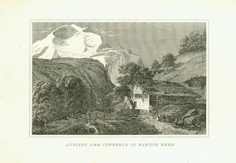 """Ansicht Der Jungfrau Im Kanton Bern""  Anonymous copper engraving ca 1820.  Original antique print"