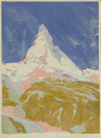 "Matterhorn  Original woodcut in extraordinary colouring, signed lightly in margin (lower right) S. Mackowsky.   Siegfried Mackowsky born in Dresden November 25, 1878, died in Dresden February 17, 1941.He was student of the Dresden Art Academy under R. Müller, E. Bantzer, E. Bracht and G. Kuehl. He was co-founder of artist group ""1913"". His paintings and woodcuts, mostly landscapes, mountains, and town views are known for their fine moody expression and exquisite colour."