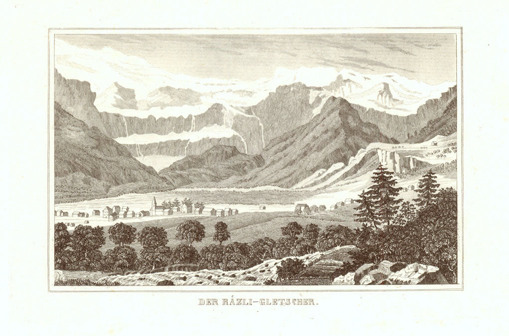 "Switzerland, ""Der Raezli - Gletschcher""  Anonymous steel engraving ca 1860."