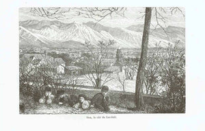 """Sion, la cite du Lac-Sale""  Wood engraving published ca 1880.  Original antique print , Schweiz, Sitten"
