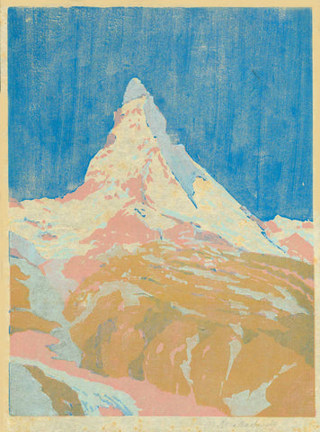 "Matterhorn  Original woodcut in extraordinary coloring, signed lightly in margin (lower right) S. Mackowsky.  Siegfried Mackowsky born in Dresden November 25, 1878, died in Dresden February 17, 1941. He was student of the Dresden Art Academy under R. Müller, E. Bantzer, E. Bracht and G. Kuehl. He was co-founder of artist group ""1913"". His paintings and woodcuts, mostly landscapes, mountains, and town views are known for their fine moody expression and exquisite color.  Original antique print"