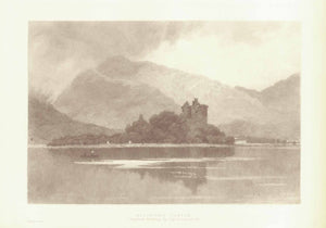 """Kilchurn Castle""  Wood engraving made after the original etching by David Law. Published 1895.  Image: 16 x 24 cm ( 6.2 x 9.4 "")"