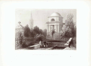 """Mausoleum of Burns, Dumfries""  Steel engraving by H. Griffith after W. H. Bartlett ca 1850."