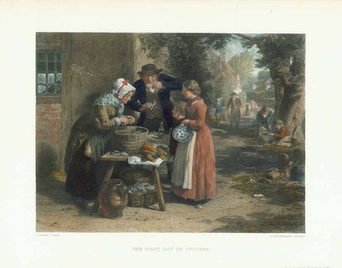 """The First Day of Oysters""  Hand-colored steel engraving by G. Greatbach after the painting by G. Smith  Very pleasantly hand-colored engraving. Published ca. 1860.  Very good condition.  Original antique print , interior design, wall decoration, ideas, idea, gift ideas, present, vintage, charming, special, decoration, home interior, living room design"