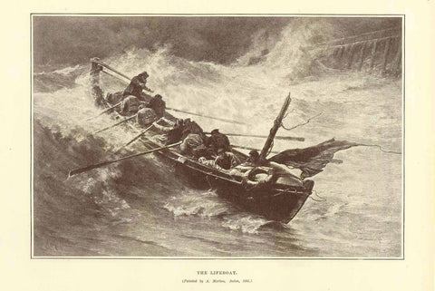 """The Lifeboat""  Wood engraving made after a painting by A. Marion. Published 1895. On the reverse side is text about Italian art.  15.5 x 23.5 cm ( 6.1 x 9.2 "")"