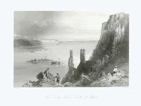 """The Nuns Tower, Castle of Theben""  Fine steel engraving by W. Mossman after W. H. Bartlett, 1839."