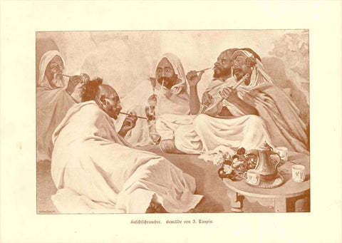 Haschischraucher (Hashish, Smoking)  Toned wood engraving by Schreiber after a painting by Jules Charles Clément Taupin (French, 1863-1932).  Published ca 1890.  Original antique print, interior design, wall decoration, ideas, idea, gift ideas, present, vintage, charming, special, decoration, home interior, living room design