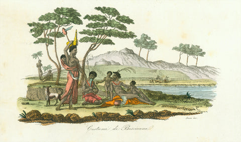 """Costumi de Besciuana""  Originally hand-colored copper etching by Sassa.  Published in ""Il costume antico e moderno o storia del governo, della milizia""  This African people call themselves AmaXhosa or simply Xhosa. They live in the Eastern Cape Province of South Africa and belong to the Bantua people.  Rome, 1820"
