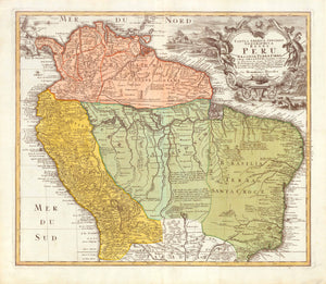 """Tabula Americae Specialis Geographica Regni Peru, Brasiliae, Terrae Firmae & Reg. Amazonumé""  Originally hand-colored copper etching  Published by the heirs of Johann Baptist Homann  Nuremberg, ca. 1730-35"