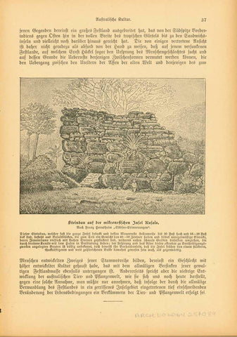 """Steinbau auf der micronesischen Insel Kusaie"" (Kosrae Island)  Stone building and surrounding stone ruins on the island that was probably settled ca 1000 BC. Kosre was a German colony from 1898 until WW1 when it was occupied by the Japanese. Published ca. 1900.  Original antique print"