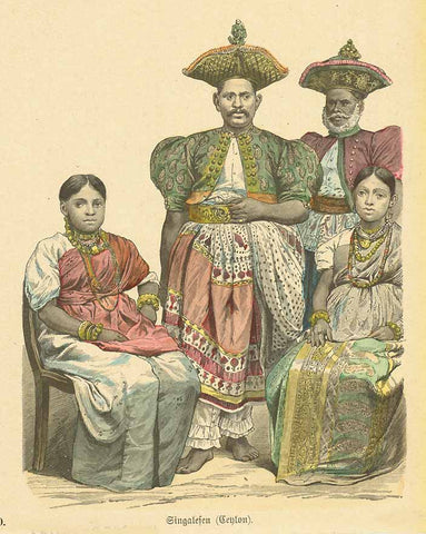 """Singalesen (Ceylon)""  Wood engraving 1885. Original hand coloring.  Original antique print , interior design, wall decoration, ideas, idea, gift ideas, present, vintage, charming, special, decoration, home interior, living room design"