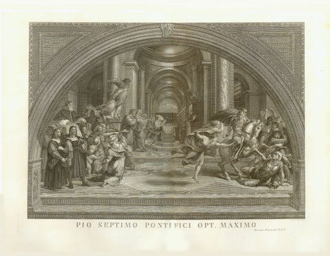 """Pio Septimo Pontifici Opt. Maximo""  The Expulsion of Heliodorus from the Temple - Wall Fresco in ""Stanza di Eliodoro"" by Raffaello Sanzio  Copper etching by Guiseppe Mocchetti.  Rome, 1816  Heliodor was sent to Jerusalem to collect tribute payments. When there was nothing to get he entered the Temple in Jerusalem in order to take the Temple Treasures. The scene shows him being expelled from the Temple.  Raffaello Sanzio da Urbino (1483-1520) was commissioned by Pope Leo X  to paint the Apostolic Palace (th"
