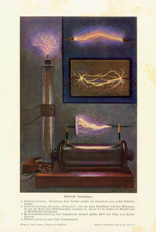 """Elektrische Entladungen""  Chromolithograph showing 4 kinds of electrical discharges. Description (in German) at the bottom of the page. Published 1905. A few very light spots in margins."