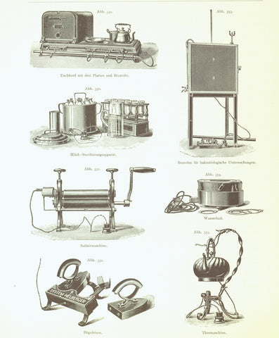 """Elektrische Heizvorrichtungen"" ( electric heaters)  Wood engraving published 1897. On the reverse side is an article about moors and peat harvest."