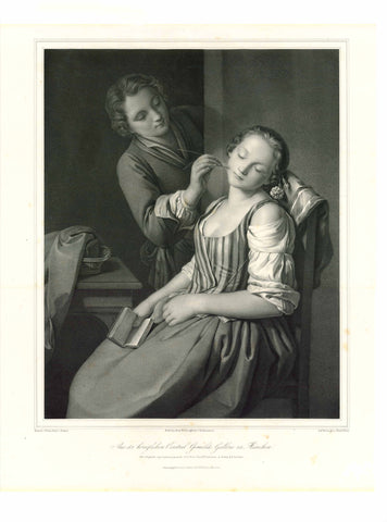 Theater - Make-up Artist - Actress  No title. Theatre actress  Lithograph by Ferdinand Piloty (1786-1844)  After Pietro Count Rotari (1707-1762)  An actress just before her stage entry being made up by a make-up artist.