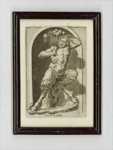 """Satyrus in aedibus""  Satyr or faun carrying a basket with fruit.  Copper etching by Philippe Thomassin (1562-1622)  Published in a  series of classical statues ""Antiquarum statuarum Urbis Romae""  edited by G.G. de Rossi.  Rome 1649  Original antique print"