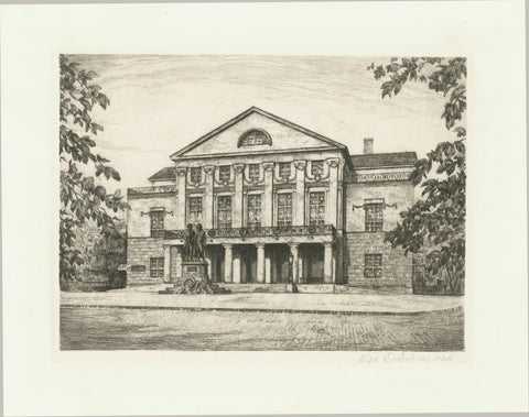No Title. (Deutsches Nationaltheater Weimar)  Etching by Max Brueckner (1888-1953).  Fine etching of the Weimar theater with a light sepia tone. Ca. 1920.